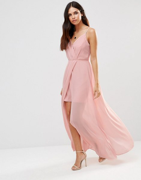 Adelyn Rae Gathered V Neck Maxi Dress in pink - Evening dress by Adelyn Rae, Lightweight woven fabric,...