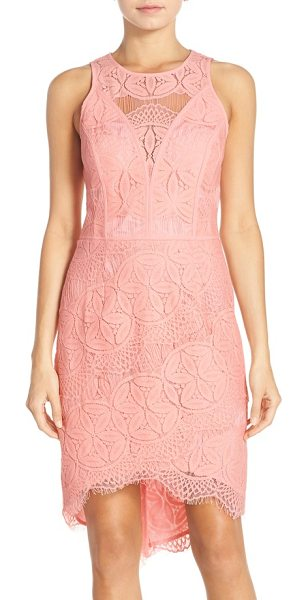 ADELYN RAE lace high/low sheath dress - Intricate lace patterns an ultra-flattering statement...