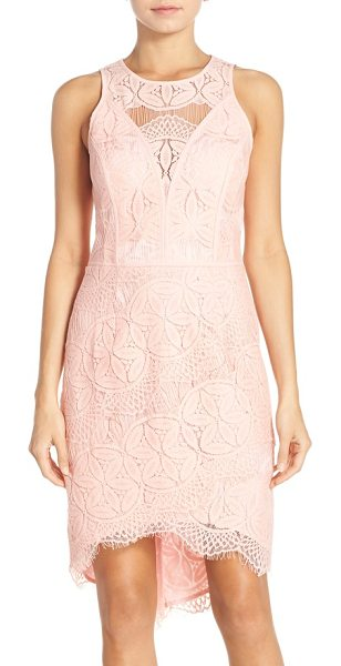 ADELYN RAE lace high/low sheath dress in light pink - Intricate lace patterns an ultra-flattering statement...
