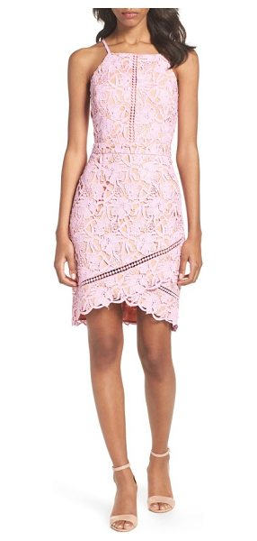 Adelyn Rae lace sheath dress in lilac pink - The classic sheath goes contemporary with floral lace,...