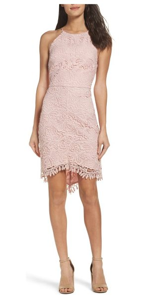Adelyn Rae louise sheath dress in pink sand - A floral lace overlay brings vintage romance to a...