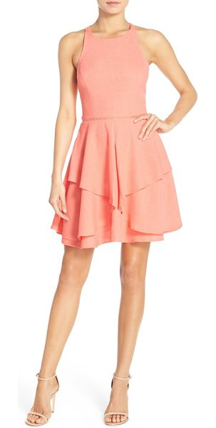 Adelyn Rae woven fit & flare dress in bright coral - Peekaboo ladder stitching rounds the tailored waistline...