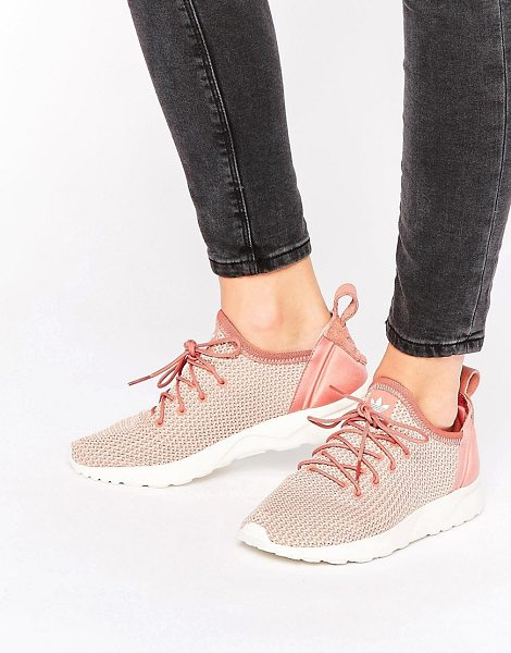 Adidas Originals Dusky Pink Zx Flux Adv Sneakers in rawpink - Sneakers by Adidas, Textured finish, Lace-up fastening,...