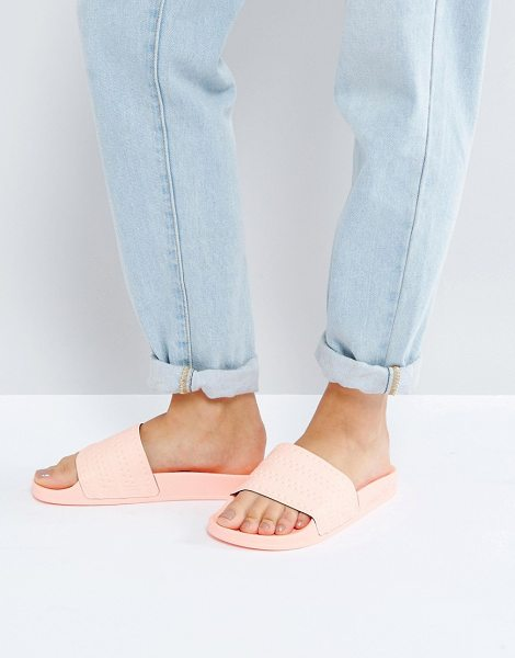 Adidas haze coral adilette slider sandals in hazecorals17 - Sandals by Adidas, Textile upper, Slip-on style, Moulded...