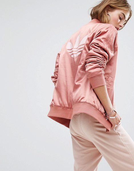 Adidas adidas Originals Logo Back Bomber Jacket in pink - Bomber jacket by Adidas, Silky fabric, Ribbed collar,...