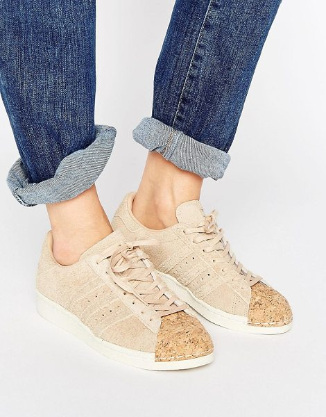 Adidas adidas Originals Nude Superstar 80S Sneakers With Cork Toe Cap in pink - Sneakers by Adidas, Suede upper, Lace-up fastening, Cork...