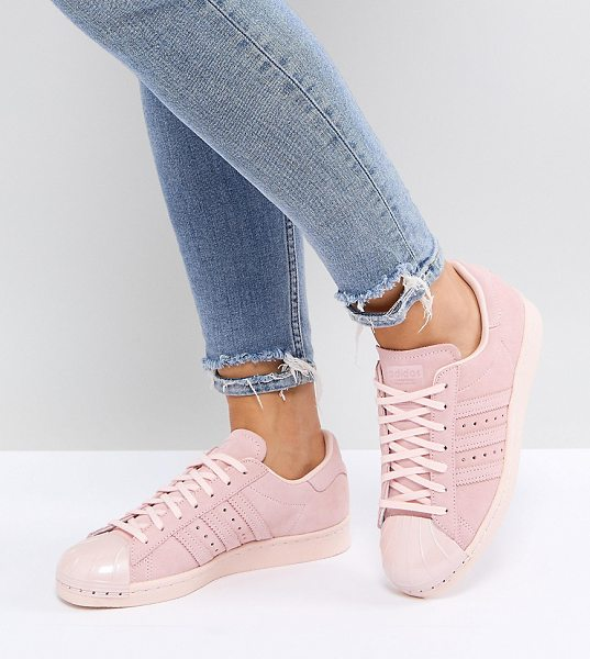 Adidas Pink Superstar 80S Sneakers With Metal Toe Cap in pink - Sneakers by adidas, Genuine leather upper, Lace-up...