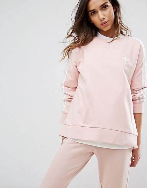 Adidas adidas Originals Pink Three Stripe Sweatshirt in pink - Sweatshirt by Adidas, Soft-touch sweat fabric, Crew...