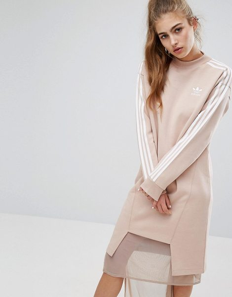 Adidas adidas Originals Three Stripe Sweat Dress With Drop Hem in pink - Dress by Adidas, Soft-touch sweat, High neck, Branded...