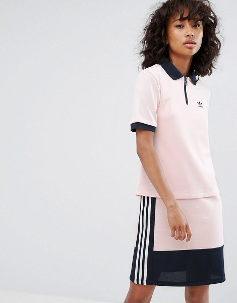 "ADIDAS adidas Osaka Polo Shirt In Pale Pink - """"Top by Adidas, Textured woven fabric, Polo collar, Zip..."