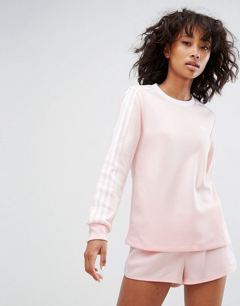 "Adidas adidas Three Stripe Long Sleeve Top In Pale Pink in pink - """"Top by Adidas, Textured sweat fabric, Crew neck, Long..."