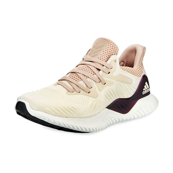 """Adidas Alphabounce Beyond Knit Sneakers in ecru tint ash pea - Adidas """"Alphabounce"""" mixed knit sneaker with leather..."""