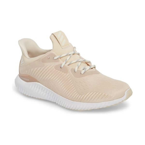 Adidas alphabounce em running shoe in linen/ off white/ ash pearl - A mesh upper hugs your feet as you take on the track or...