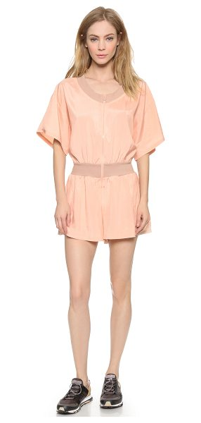 Adidas By Stella McCartney All in one romper in soft powder - Ribbed trim adds subtle contrast to this lightweight...