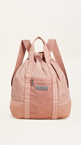 Adidas By Stella McCartney gym sack backpack in cinnamon blush - Fabric: Technical weave Zip interior pockets Zip...