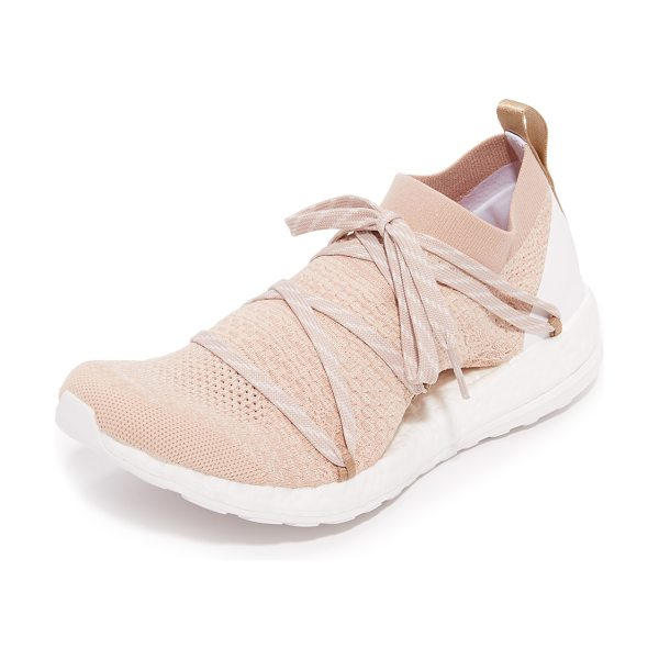ADIDAS BY STELLA MCCARTNEY Pureboost x sneakers in copper met/chalk/bliss coral - Knit panels give these adidas by Stella McCartney...