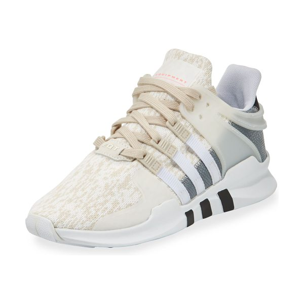 "ADIDAS Equipment Support Knit Sneaker in clear brown/white - adidas knit and lizard-embossed leather sneaker. 1.3""..."