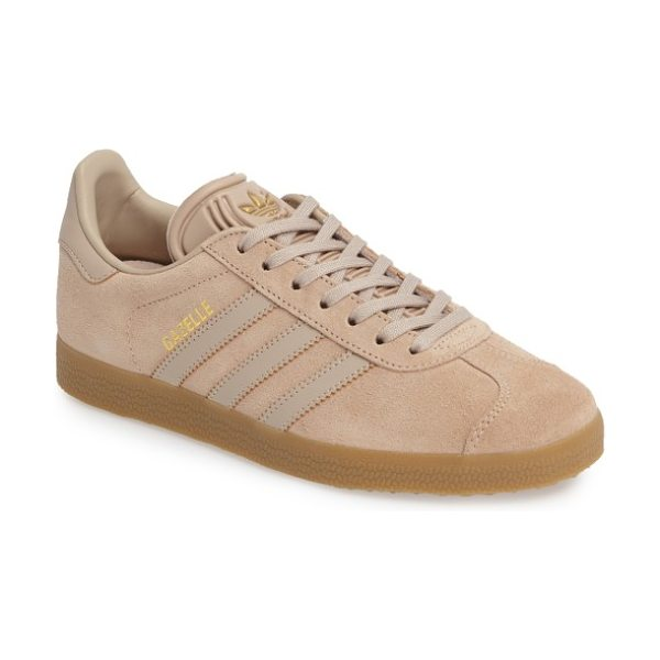 Adidas gazelle sneaker in brown/ brown/ gum - adidas fan-favorite Gazelle sneaker gets even sleeker...