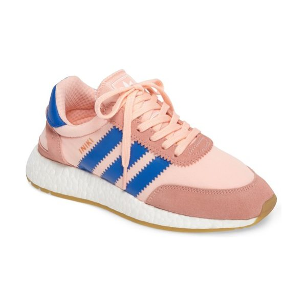 Adidas iniki running shoe in haze coral/ blue/ gum - Archival style meets modern comfort technology in this...
