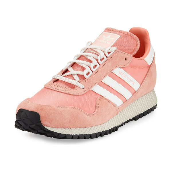 "Adidas New York Trainer Sneakers in tactile rose/pink - adidas ""New York"" trainer sneakers in textile and suede...."
