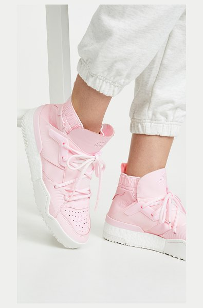 adidas Originals by Alexander Wang aw bball hi-top sneakers in clear pink/core white - Leather: Cowhide Pull tab Fabric sock liner High tops...