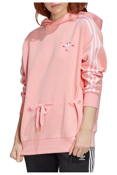 Adidas Originals embroidered heart hoodie in pink