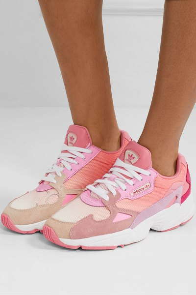 Adidas Originals falcon mesh, suede, leather and felt sneakers in pink