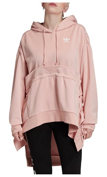 Adidas Originals hooded high/low parka in pink