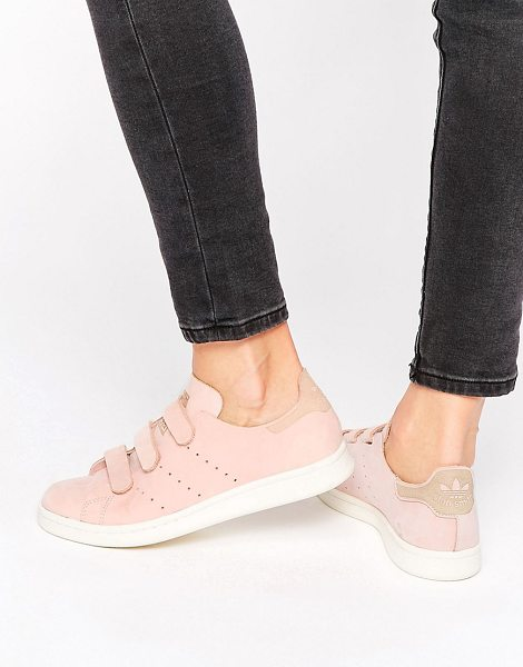 Adidas adidas Originals Pink Nubuck Leather Stan Smith Sneakers With Strap in pink - Sneakers by Adidas, Leather upper, Adhesive strap...
