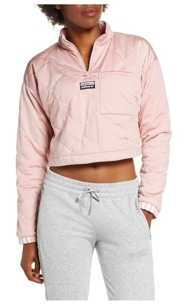 Adidas Originals recycled long sleeve crop quarter zip quilted top in pink