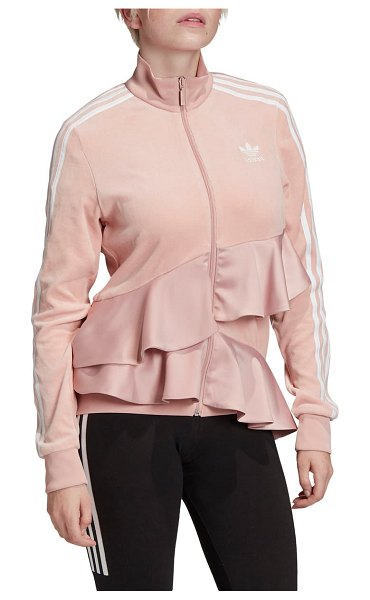 Adidas Originals ruffle track jacket in pink