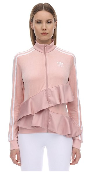 Adidas Originals Ruffled velvet track top in pink