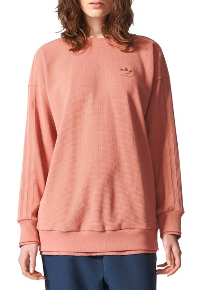 Adidas Originals originals thermal sweatshirt in raw pink - An oversized sweatshirt cut from a textured thermal knit...