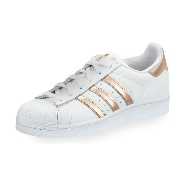 Adidas Superstar Original Fashion Sneakers in white/rose gold - adidas leather low-top sneaker with metallic striped...