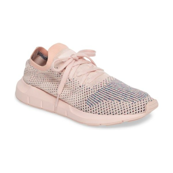 Adidas swift run primeknit training shoe in icey pink/ icey pink - Flecks of color peak within the stretchy, breathable...