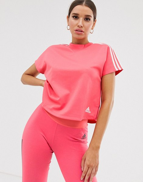 Adidas adidas training boxy three stripe t-shirt in pink in prismpinkf13