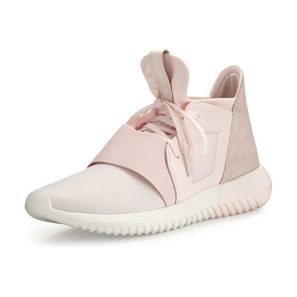 Adidas Tubular Defiant Jersey & Suede Trainer in halo pink - adidas flexible, matte jersey and suede trainer with a...