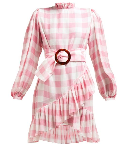 ADRIANA DEGREAS high neck gingham print mini dress in pink