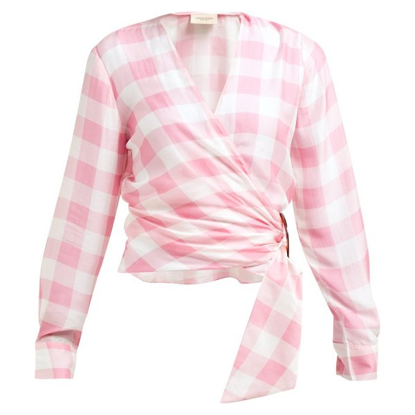ADRIANA DEGREAS vichy gingham print wrap top in pink