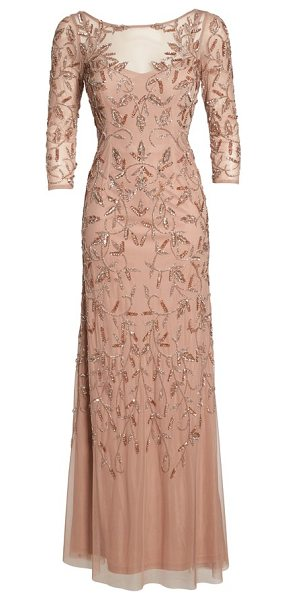 Adrianna Papell beaded a-line gown in rose gold - Soft color enriches the detailed sparkle embroidered...
