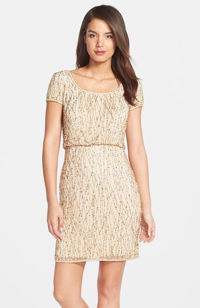 Adrianna Papell beaded blouson dress in champagne - Glimmering beads and sequins scale the mesh length of a...