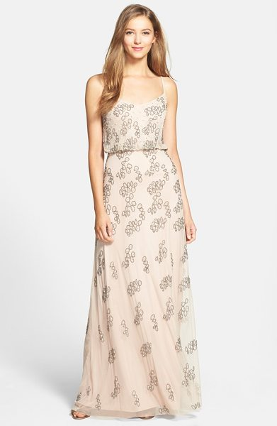 ADRIANNA PAPELL beaded blouson gown - Delicate straps crisscross the back and suspend this...