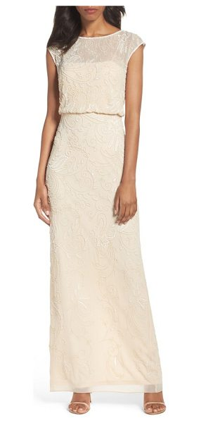 Adrianna Papell beaded blouson gown in champagne