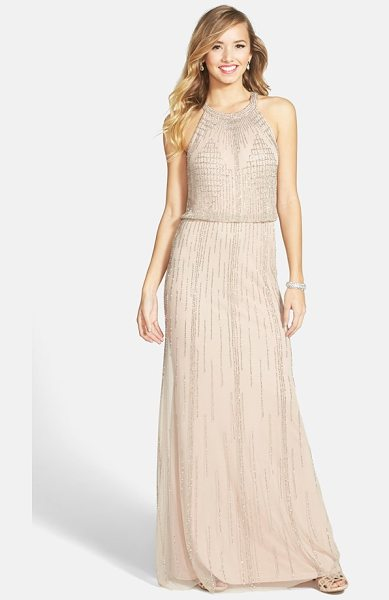 Adrianna Papell beaded blouson gown in taupe/ pink - Intricate beadwork radiates from the halter neckline and...