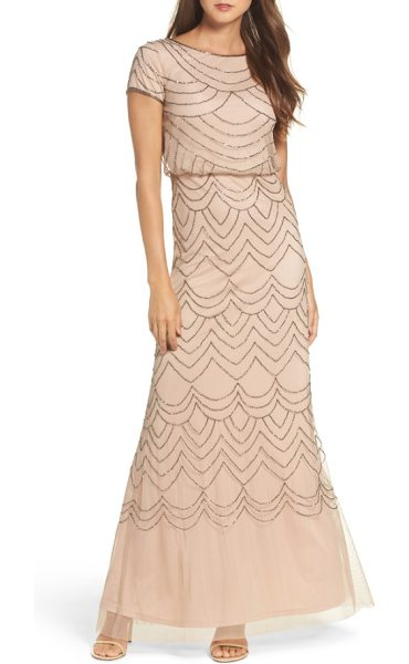 Adrianna Papell beaded blouson gown in taupe/ pink - Garlands of glittering bugle beads drape...