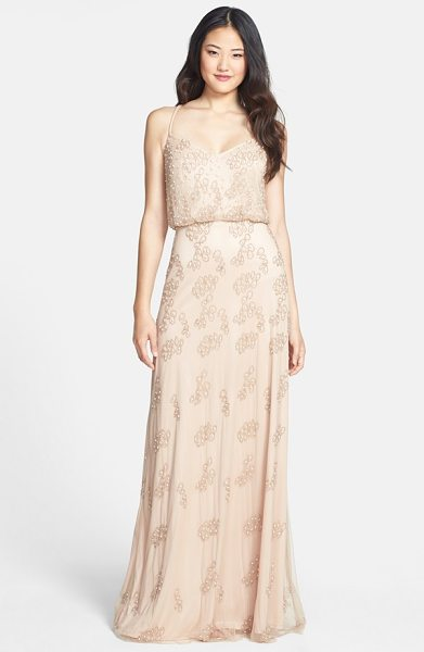 Adrianna Papell beaded blouson gown in taupe/ pink - Delicate straps crisscross the back and suspend this...