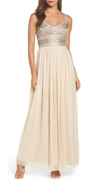 Adrianna Papell beaded bodice mesh gown in beige/ mercury - A wispy mesh skirt flutters magically, while the...