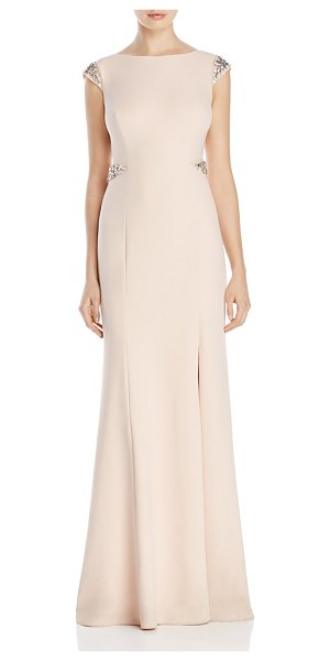 Adrianna Papell Beaded Cap Sleeve Gown in blush - Adrianna Papell Beaded Cap Sleeve Gown-Women
