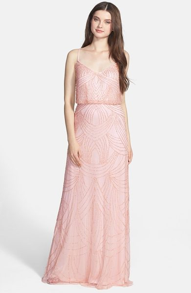 ADRIANNA PAPELL beaded chiffon blouson gown - Delicate straps crisscross the back of an elegant gown...