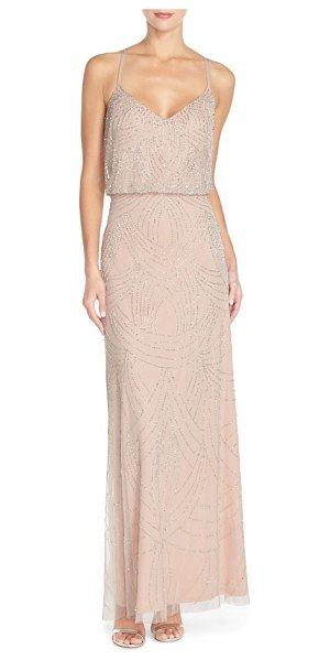 Adrianna Papell beaded chiffon blouson gown in silver/ nude - Delicate straps crisscross the back of an elegant gown...